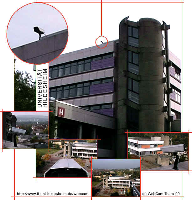 Fotomontage: Gebäude H der Universität mit diversen Bildansichten der Webcam.